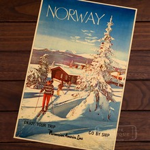 Ski in Norway Skiing Travel Vintage Retro Decorative Poster DIY Wall Home Bar Posters Home Decor Gift