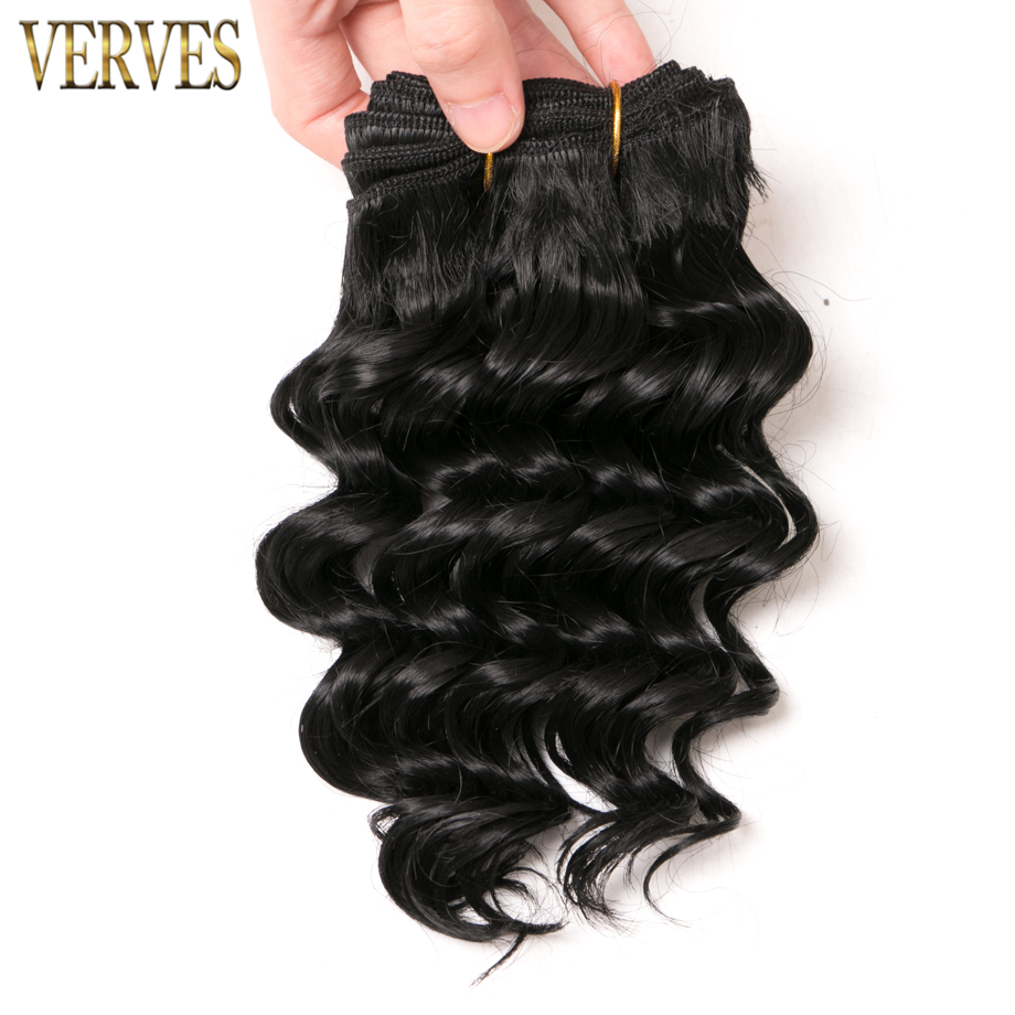 VERVES Synthetic-Hair-Extensions Weaving-Bundles Short-Style Deep-Wave Bob Black-Color title=