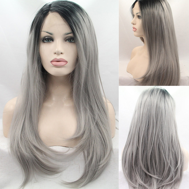 Fashion Ombre Grey Straight Synthetic Lace Front Wig Glueless 1B/Silver Gray Heat Resistant Hair Women Wigs Short Black Root<br><br>Aliexpress