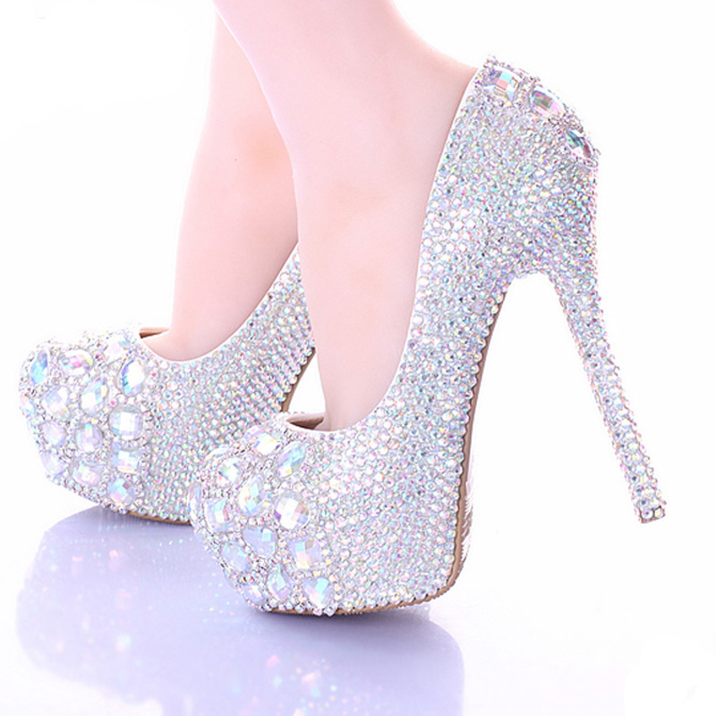 Lovely Stiletto Heel Bride Formal Dress Shoes Luxury Sparkly AB Crystal Wedding Shoes Platform Rhinestone Party Prom Heels<br><br>Aliexpress