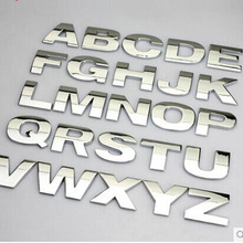 5PCS/lot 3D metal English Letter car stickers Digital Arabic Number Decals DIY Badge Logo emblem for Auto motorcycle suv atv