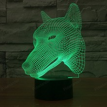7 Colors Changes 3D Nightlight Lights Dog Illusion Lamp Head Dimensional LED Visual Effect USB Touch Switch Best price