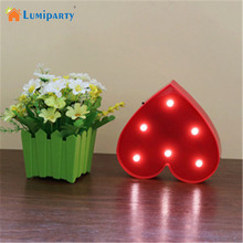 Lumiparty LED Letter Lights Heart Sign Nightlights Battery Operated 6 LEDs Valentines Lamps Valentines Day Decorations
