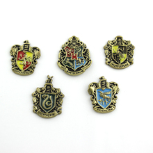 Cheap Wholesale Hogwarts School 4 College Badge Vintage Brooches Pins Antique Bronze Enamel Women And Men Brooch Pins Jewelry