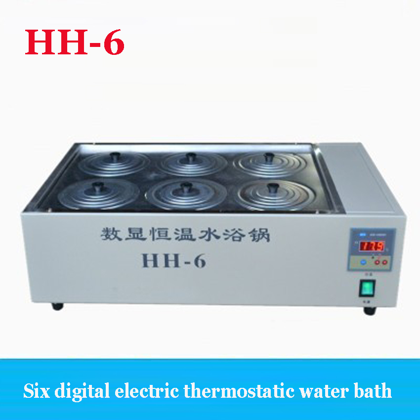 1PC HH-6 six holes digital electric thermostatic water bath 202 Material standing station 220V