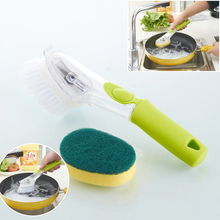 Wash Tool Dish Pot Cleaner Brush with Washing Up Liquid Soap Dispenser Storage Green Useful Supplies