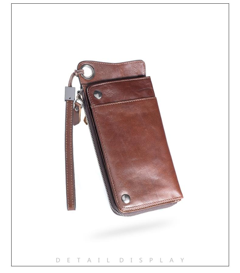 LUENSRO Wallet Leather Vintage Wallets Men Genuine Leather Wallet Zipper Card Holder Purse Long Coin Purse Money For iPhone7S (11)