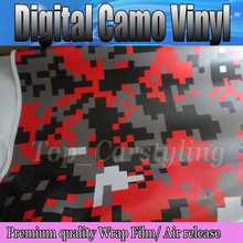 1.52x5m/roll Red Black White Digital Camo Vinyl Car Wrap For full car body decorative adhesive wrapping film with Bubble Free