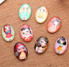 16X   13*18mm  little girl pattern ellipse Handmade Photo Glass Cabochons & Glass Dome Cover Pendant Cameo Settings