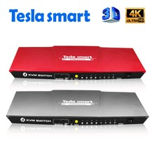 Tesla smart USB HDMI KVM Switch 4 Port USB KVM HDMI Switch Support 3840*2160/4K*2K IR Extra USB 2.0 Many Computer Mouse&Keyboard(China)