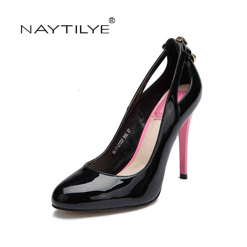 WomenS Pumps New Arrival Fashion Slip-On Elegant Pointed Toe Office Heels Woman Shoes Black Blue Pink BK-7107007 36-41 NAYTILYE<br>