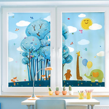 Home Decor Decorative Glass Window Film Customized Size  Kids Room Stickers Static Cling  Cartoon Design Elephant Forest