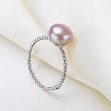 925 Sterling Silver Simple Pearl Ring AAA Freshwater Pearl Wedding RingsFashion Jewelry  For Women White Pink Purple Pearl
