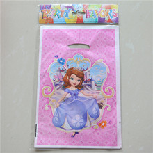 Plastic Birthday Gift Bag Sofia Princess Girls Children Set Of 10 Loot Favor Candy Bag With Handle Party Supplies