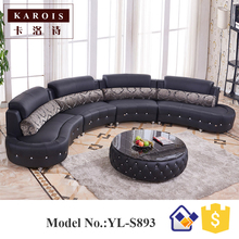 Black Diamond-Inlaid Europe Big Lots Half Moon Leather Sectional Sofa,classic furniture