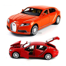 Alloy Diecast Model toy cars 1:32 Bugatti Veyron 16C Galibier Electronic light sound Pull Back car toys for Kids children Gift