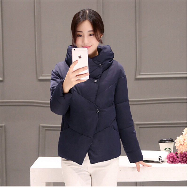 AILOOGE Autumn And Winter Down Jacket Women Parkas 2017 Korean Short Zipper Slim Fashion Women Black White Pink Color