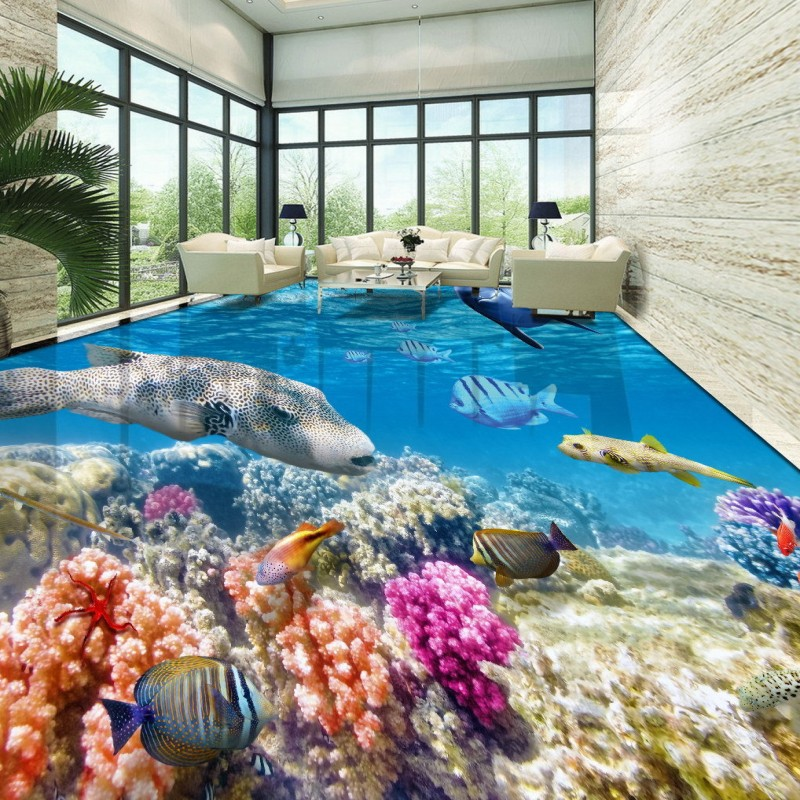 Free Shipping HD underwater world 3D tropical fish coral floor paste bathroom home lobby floor wallpaper mural<br><br>Aliexpress