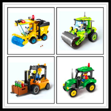 ENLIGHTEN Sweeper Road Roller Forklift Truck Tractor Truck City Construction Model Building Block Children Toys Compatible Legoe