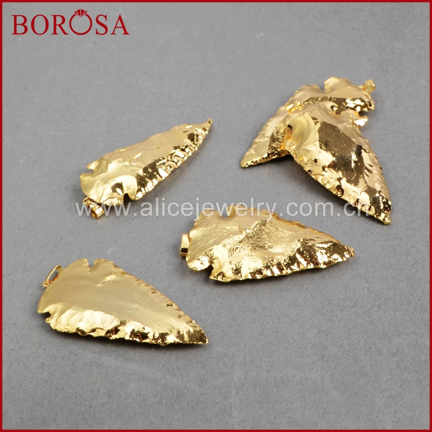 BOROSA 1piece Free Shipping Arrowhead Full Gold Color Natural Gems Pendant Beads For Women Fashion  Druzy Jewelry G0506