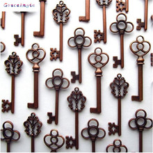 Fashion 30 PiecesTop Antique Copper Brass Keys Pendant Charms DIY Jewelry Accessory Wholesale(China)
