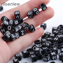 Buy Hisenlee High 200pcs/lot 6x6mm Black Letter Beads DIY loose Alphabet Cube Beads teething necklace pacifier clip for $1.99 in AliExpress store
