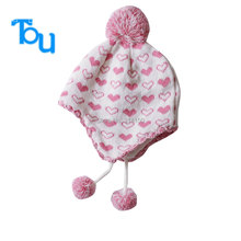 Tou  Infant Hats Baby Children Knitted Hats  Love pattern warm hat Autumn Winter Fashion Crochet Hats free shipping