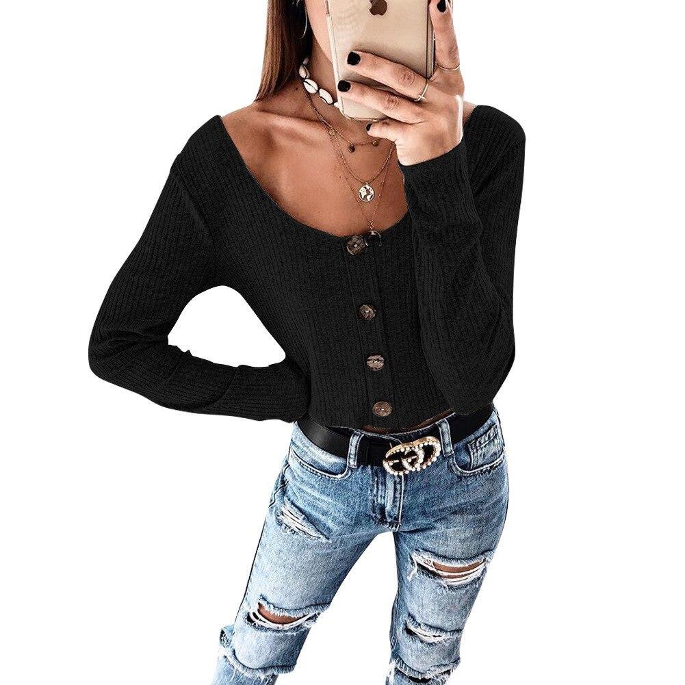 Crop Top Women Long Sleeve Button O-neck Spring Summer T Shirt Women Sexy Camiseta Mujer Women Tshirt Tee Shirt Femme 2019 Tops3