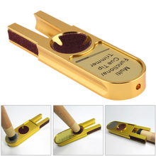 Multi-functional U Shape Alloy Brick Ultimate Tip Tool/Mini Cue Tip Trimmer Billiard Pool Cue Tools Accessories (Golden)
