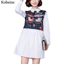 Cute Owl Printed Women Blusa Vestidos Mujer Casual Plus Size Dresses Women 2017 Spring Mini Elbise Long Sleeve Polo Loose Robe
