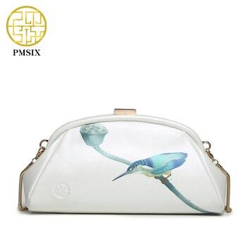 Pmsix 2017 impresión de primavera y verano de las mujeres de cuero genuino hombro bolsa de piel de vaca pequeña bolsa de embrague noche bolso de cadena blanco p520008
