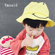 Summer Autumn Big Smile Child Bucket Hat Yellow Pink Blue Boys Girls Cute Character Cotton Sun Hat For Kids 3-6 Years Old