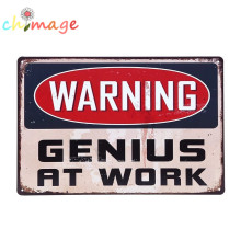 WARNING GENIUS AT WORK VINTAGE Tin Sign Bar pub home Wall Decor Retro Metal ART Poster(China)