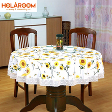 Floral Style Round Table Cloth Pastoral PVC Plastic Tablecloth Eleglant  Lace edge Table Cover for Home Party Banquet Oilproof