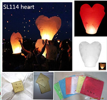 Heart shape 6pcs/lot 100%biodegradable flame retardant paper sky flying lantern with fuel wedding/party decoration free shipping