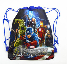 12Pcs The Avengers Hulk Thor Captain America Cartoon Kids Drawstring Backpack Shopping School Traveling Party Bags Gift 34*27CM(China)