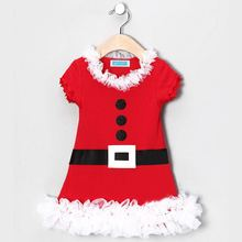 1-5T Pretty Christmas Dress For Girls Party Princess Baby Girl Dress Cute Red Color Short Christmas Girl Dress kids Clothes