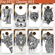 Hot Selling Good Quality diy Lovely black and white animals design hard cover Case For HTC Desire 601 Back Cover free shipping