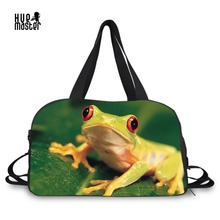 HUE MASTER Thicker duffle bag 3D printing frog series handbag man women travel leisure movement dedicated handbags Side shoes