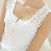 Fitness Tank Tops Summer Style Ladies Tops Beaded White Lace Blouse Shirt 2017 S-XXXL Hollow Out Sleeveless Tank Top Women Camis(China)