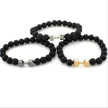 Hot Sell Fashion jewelry  Metal dumbbells Black Volcanic Lava Stone   Beaded bracelet