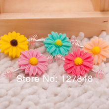 2014 New Necessary sunflower hairpin of pet pet hair clip dog teddy Yorkshire lala hairpin headdress jewelry50pcs/lot(China)