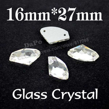 Sell like hot cakes 60pcs/box 16x27mm AX Shape Sew On Rhinestone Crystal  Sewing Crystal Stone For clothing decoration SF0125