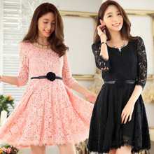 M~3XL Brand Plus Size 2016 Autumn Sexy Elegant Lace Ladies Women Half Knee Length Slim OL Work Puffy Big Dresses Vesitdos + Belt