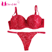 Mierside Women Bralette Set Brassiere Embroidery High Quality 34B 34C 36B 36C 38B 38C Sexy Lace G-string Bra Set Push up