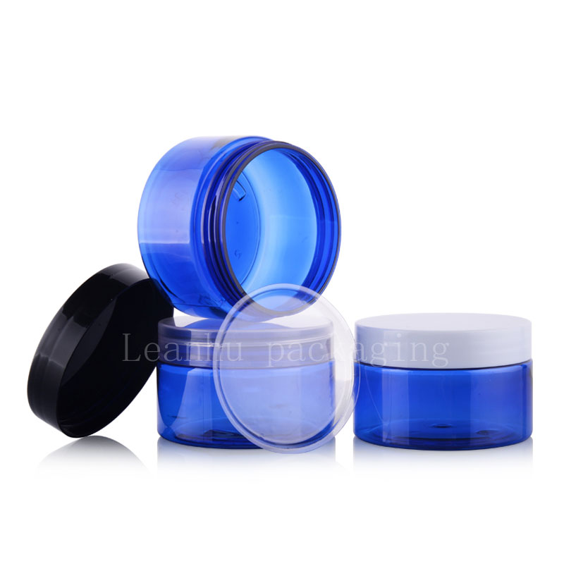 100g blue PET jar with plastic lids (2)