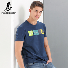 Pioneer Camp fashion printed T-shirt men brand clothing casual T shirt male quality 100% cotton white dark blue ADT701078