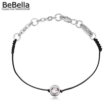 BeBella thin black cord thread string rope line bracelet with crystals from Swarovski gold color chain women wedding jewelry(China)