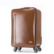 Genuine Leather Travel Suitcase 16''/18''Spinner Rolling Carry-on Traveller Luggages Brown Cowhide Leather Real Leather Suitcase(China)