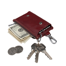 Genuine Leather Hanging Leather Key Case Wallet Unisex Keychain Car Key Case Holder with 6 Hooks Snap Closure Purse(China)